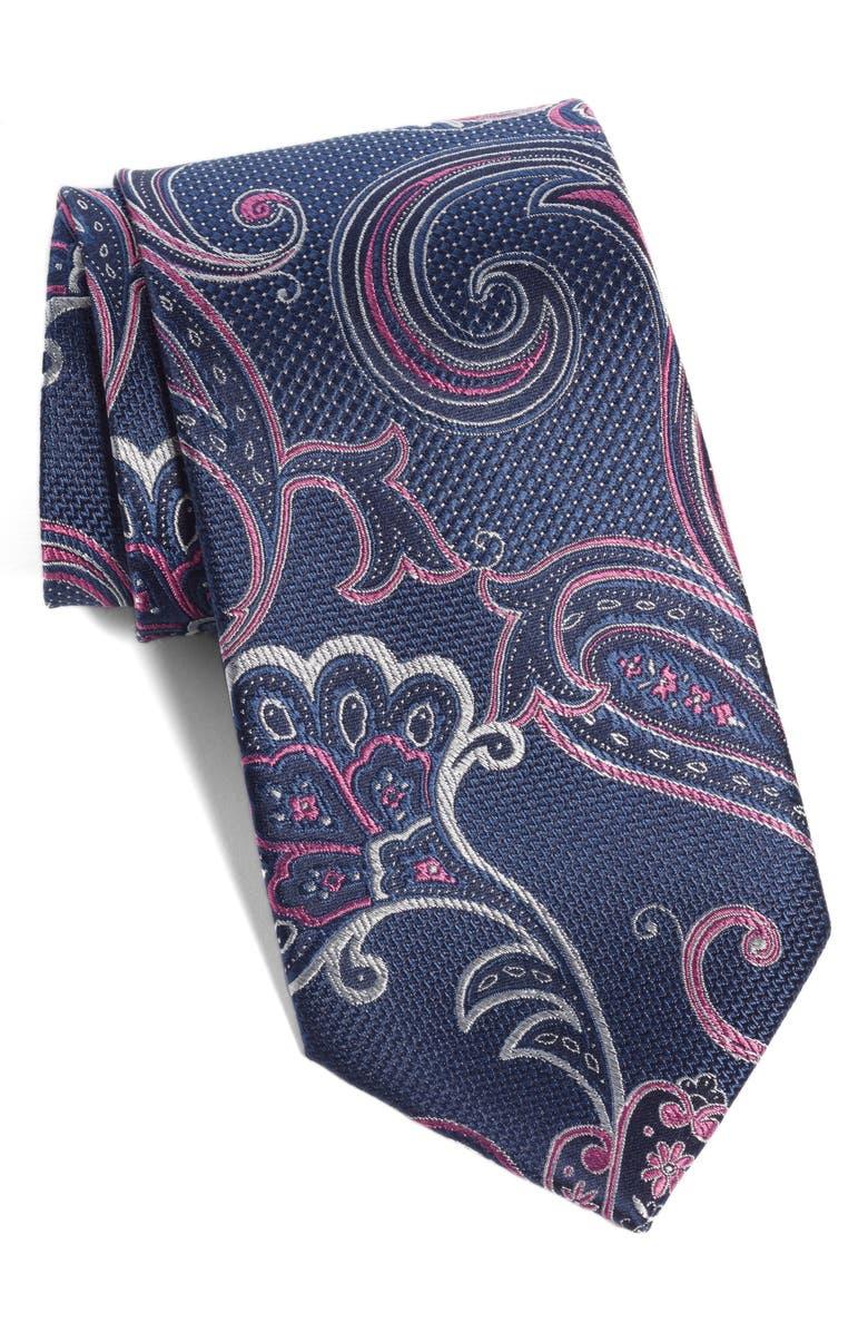 NORDSTROM MEN'S SHOP Bryce Paisley Silk Tie, Main, color, TRUE NAVY