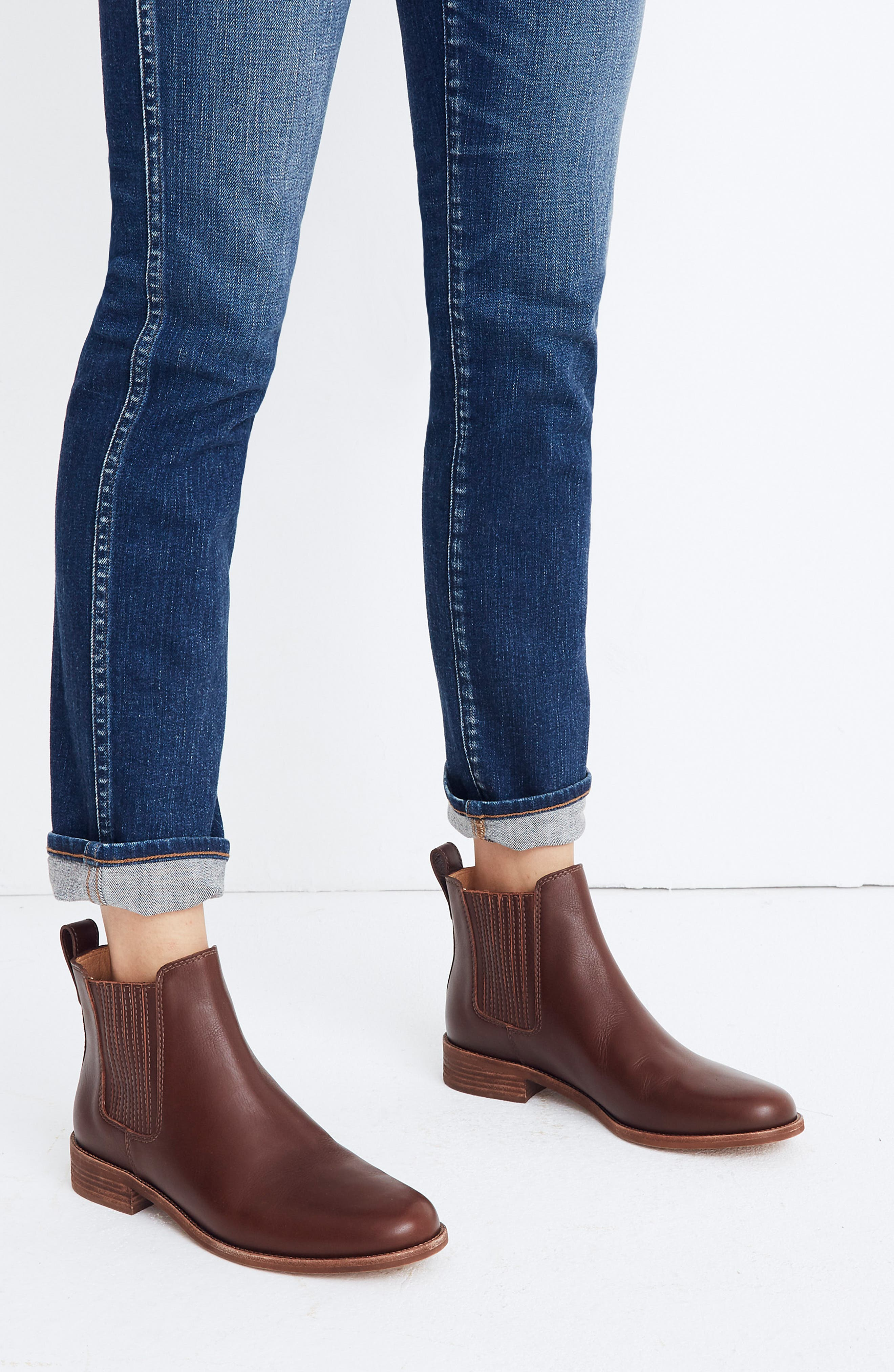 ,                             The Ainsley Chelsea Boot,                             Alternate thumbnail 3, color,                             RICH BROWN LEATHER