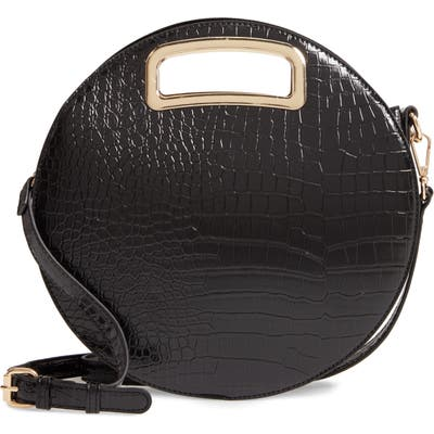 Mali + Lili Danni Vegan Leather Round Top Handle Bag - Black
