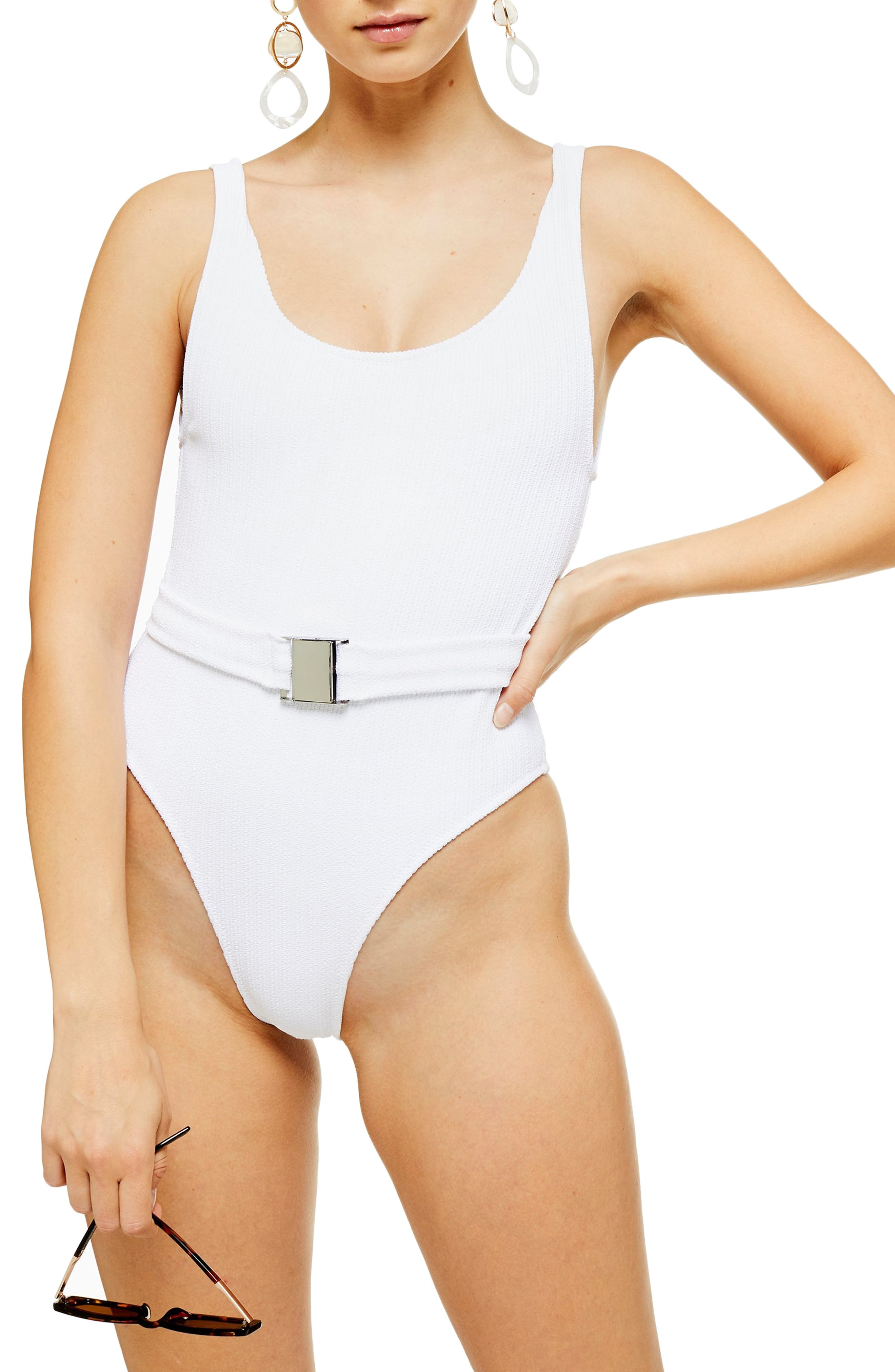 Topshop Crinkled Belted One-Piece Swimsuit, US (fits like 00) - White