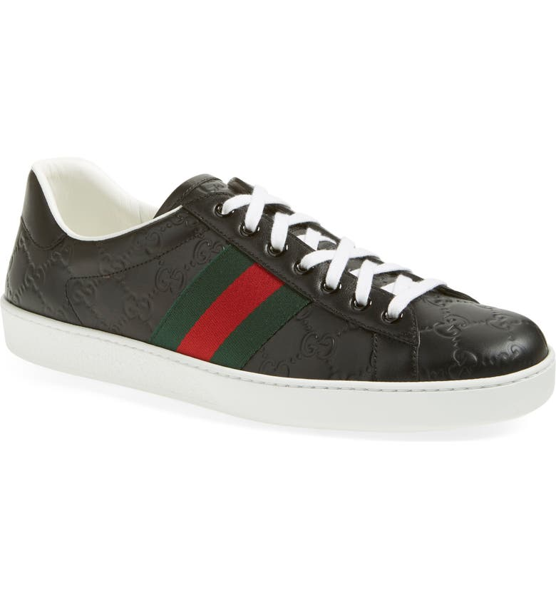 GUCCI New Ace GG Supreme Sneaker, Main, color, NERO LEATHER