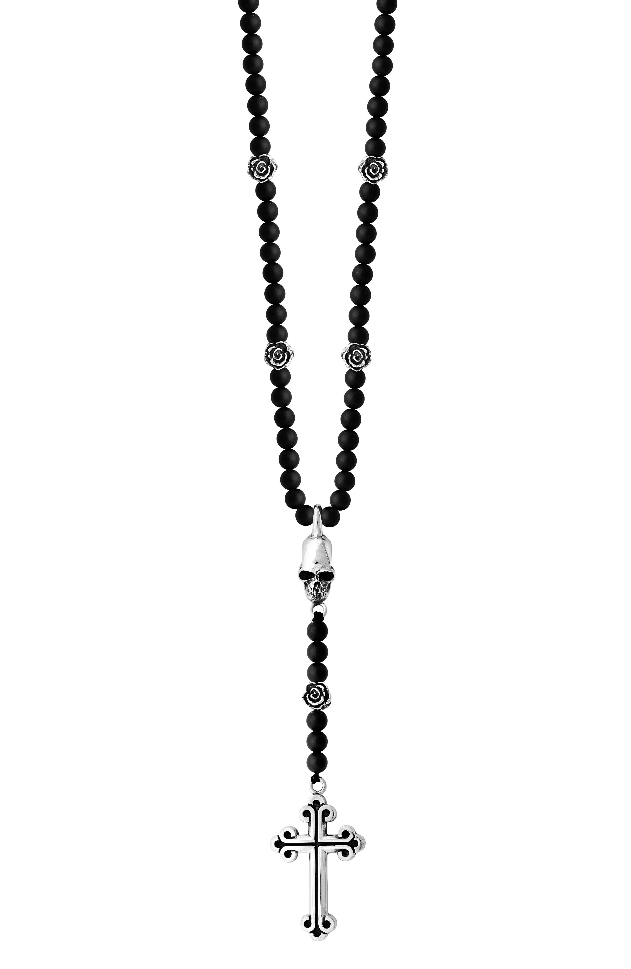 Onyx Rosary Necklace