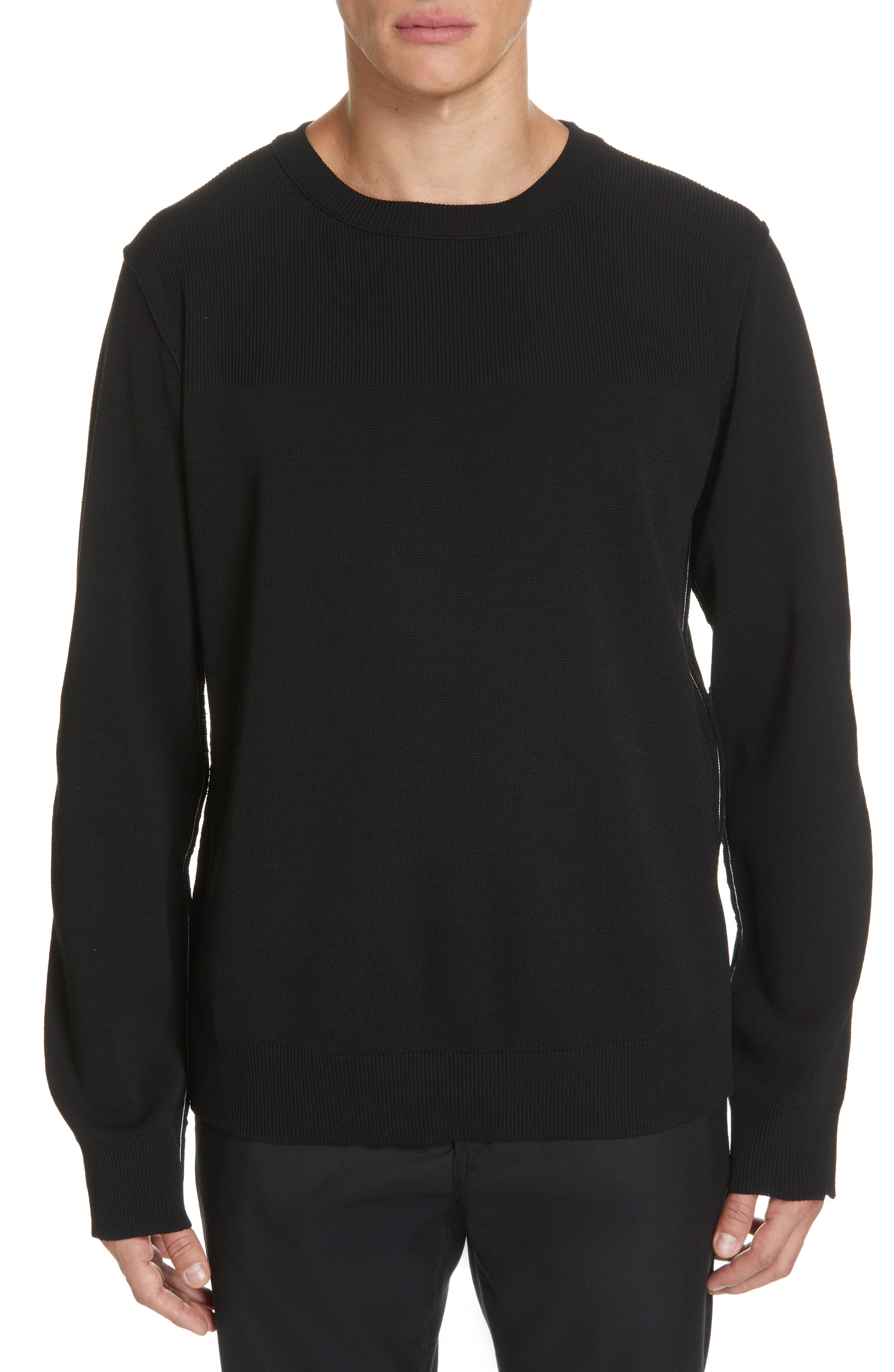 ,                             Contrast Stitch Wool Blend Sweater,                             Main thumbnail 1, color,                             001
