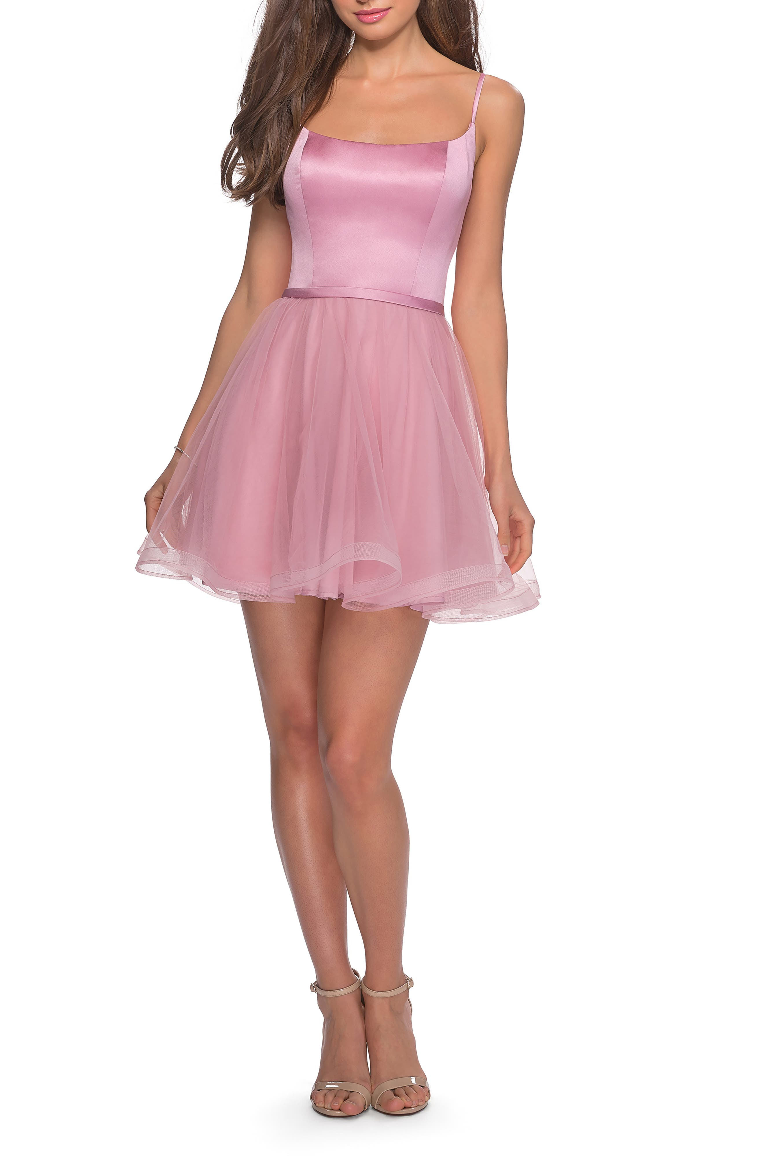 La Femme Satin & Tulle Fit & Flare Dress