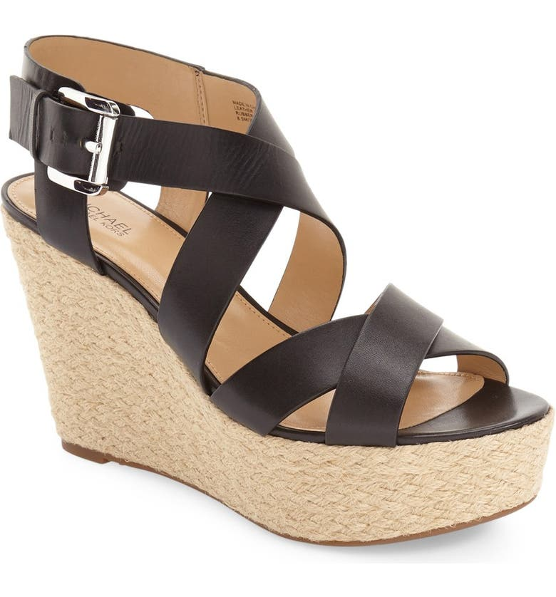 MICHAEL MICHAEL KORS 'Celia' Espadrille Wedge Sandal, Main, color, 001