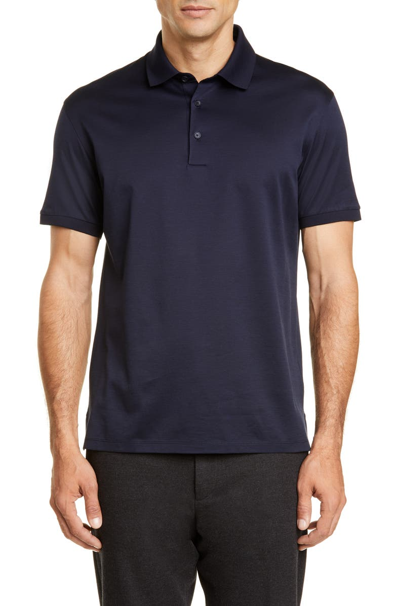 ERMENEGILDO ZEGNA Solid Polo, Main, color, NAVY