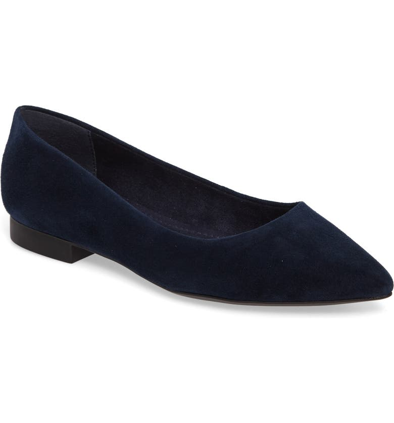 BELLA VITA 'Vivien' Pointy Toe Flat, Main, color, NAVY SUEDE
