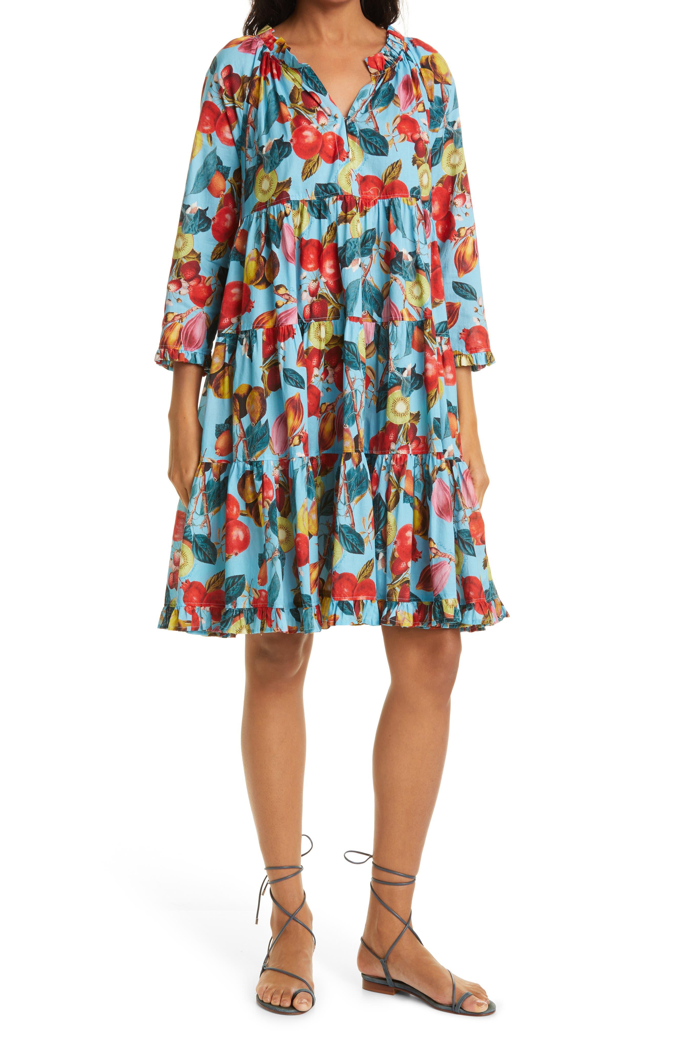 Gibson Fruit Print Cotton Voile Babydoll Dress