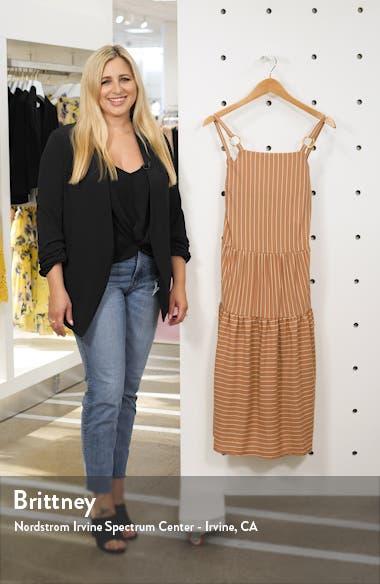 Sleeveless Stripe Linen Midi Dress, sales video thumbnail