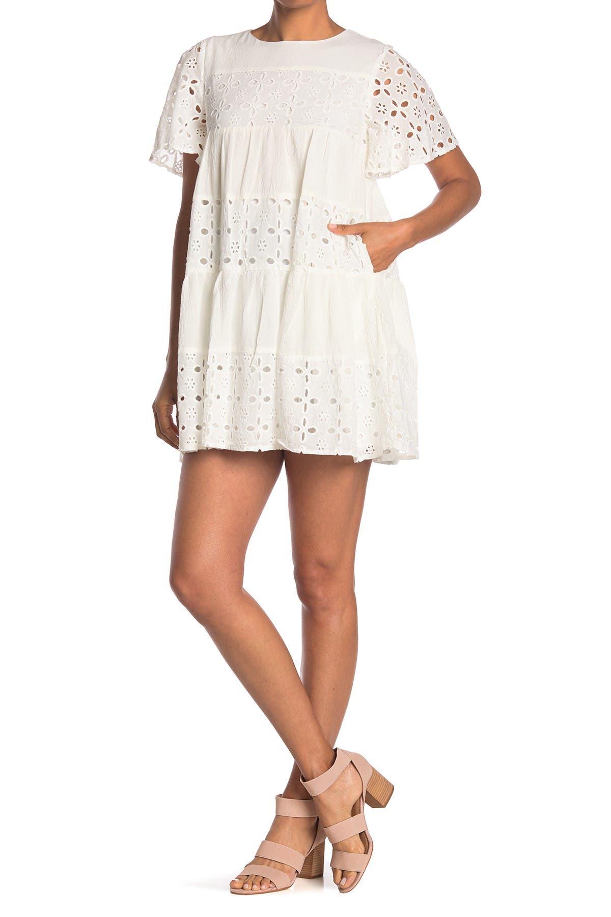Image of MELLODAY Flutter Sleeve Eyelet Babydoll Dress