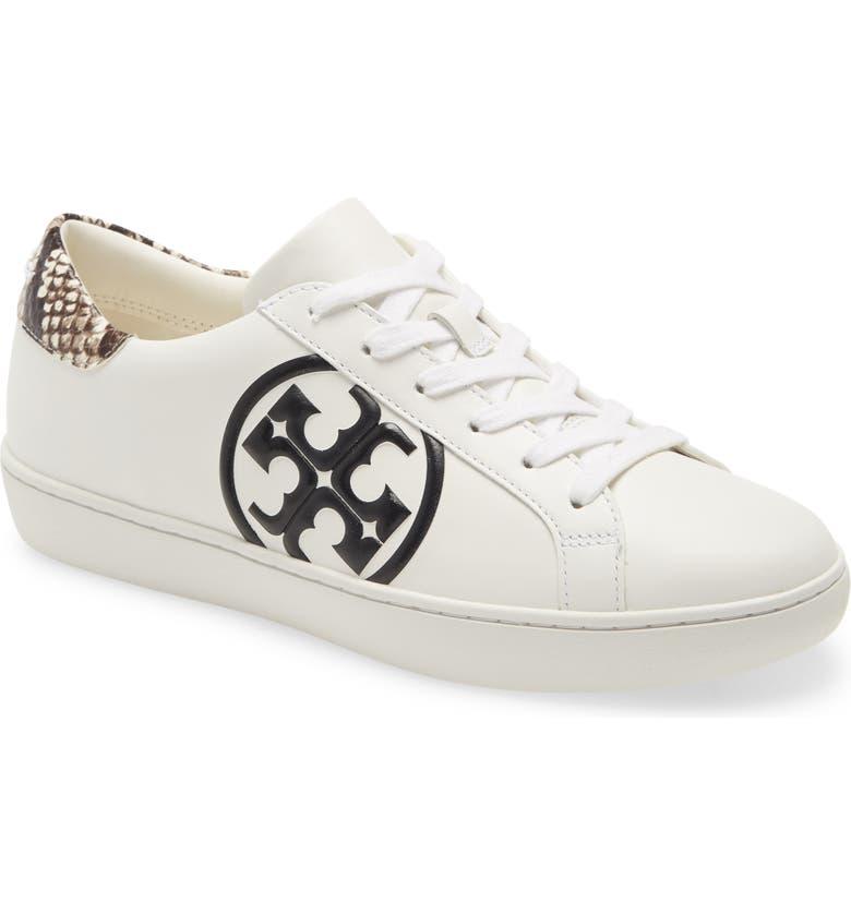 TORY BURCH Leigh T-Logo Sneaker, Main, color, SNOW WHITE/ BLACK / ROCCIA
