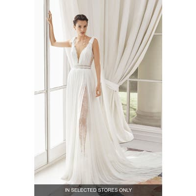 Rosa Clara Couture Med Lace & Silk Blend Muslin Gown