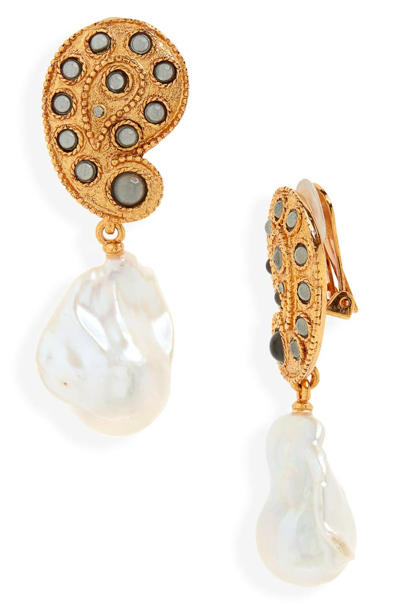OSCAR DE LA RENTA Taj Pearl Drop Earrings, Main, color, GOLD