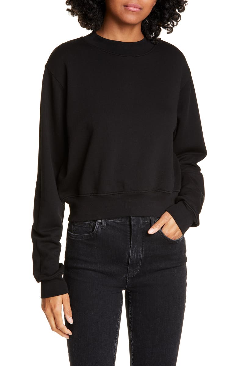 COTTON CITIZEN Milan Tie Dye Crop Sweatshirt, Main, color, JET BLACK