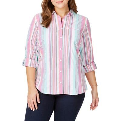 Plus Size Foxcroft Reese Stripe Seersucker Upf Wrinkle Free Shirt, White