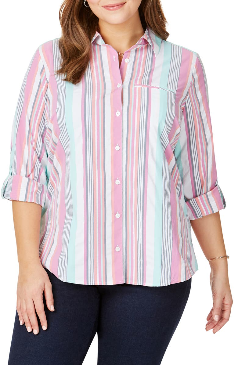 FOXCROFT Reese Stripe Seersucker UPF Wrinkle Free Shirt, Main, color, MULTI