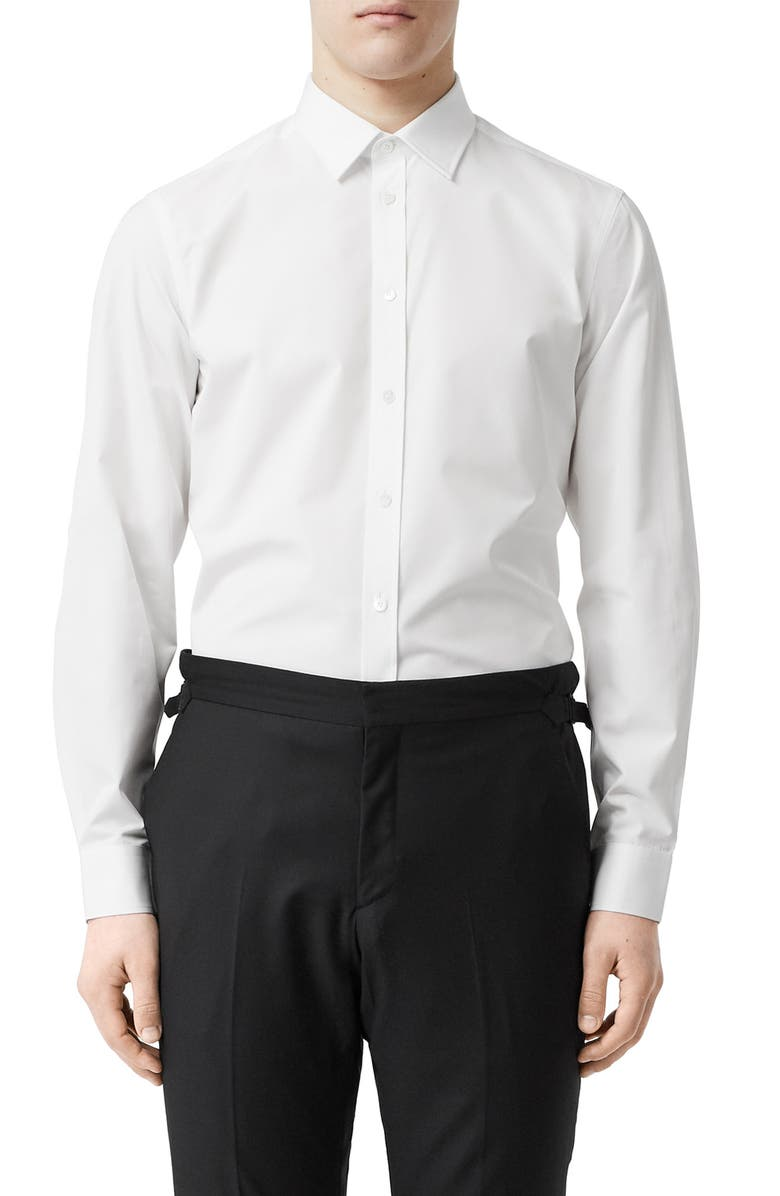 BURBERRY TB Embroidered Slim Fit Poplin Shirt, Main, color, WHITE