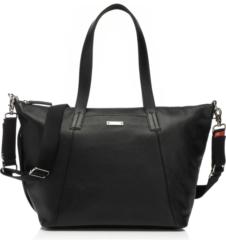 STORKSAK NOA Leather Diaper Bag, Main, color, BLACK