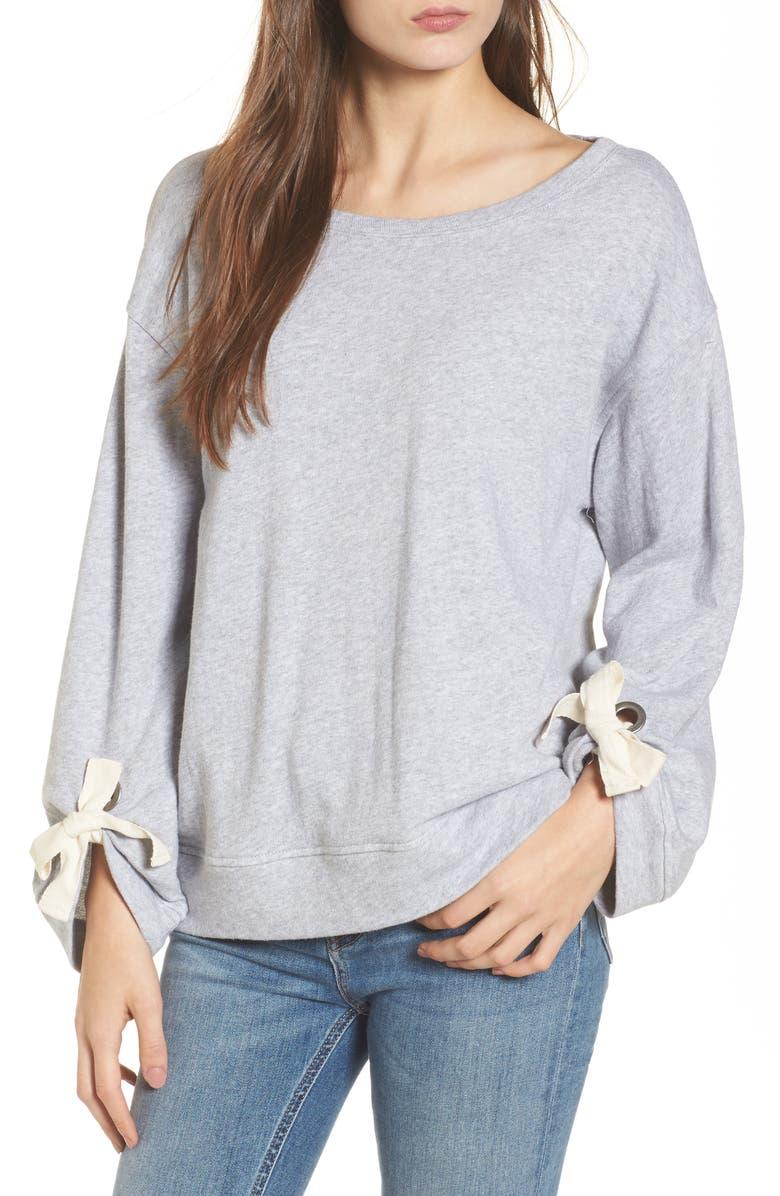 SPLENDID Tie Sleeve Sweater, Main, color, 020