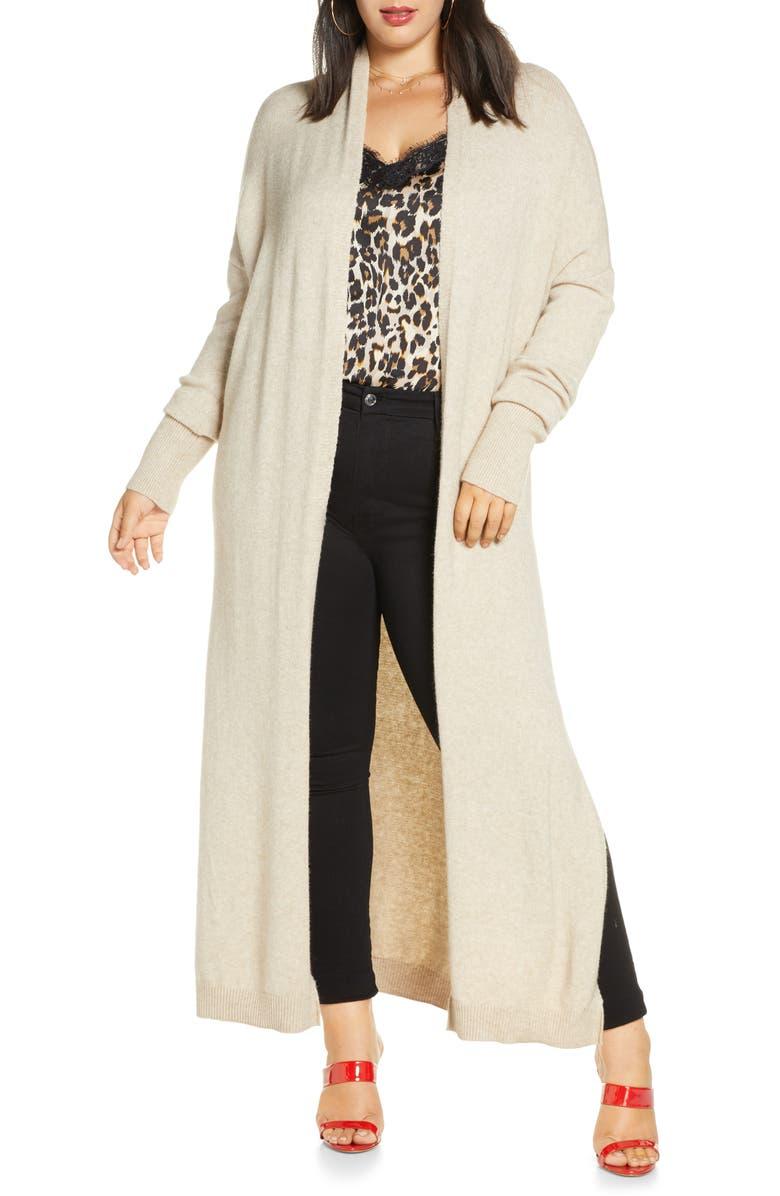 LEITH Longline Open Cardigan, Main, color, TAN ETHEREA HEATHER