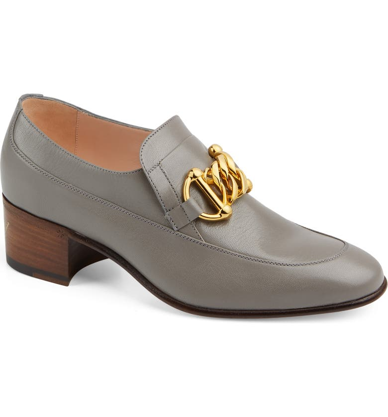 GUCCI Ebal Chain Loafer Pump, Main, color, DUSTY GREY