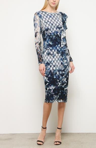Abstract Dot Ruffle Detail Long Sleeve Dress, video thumbnail