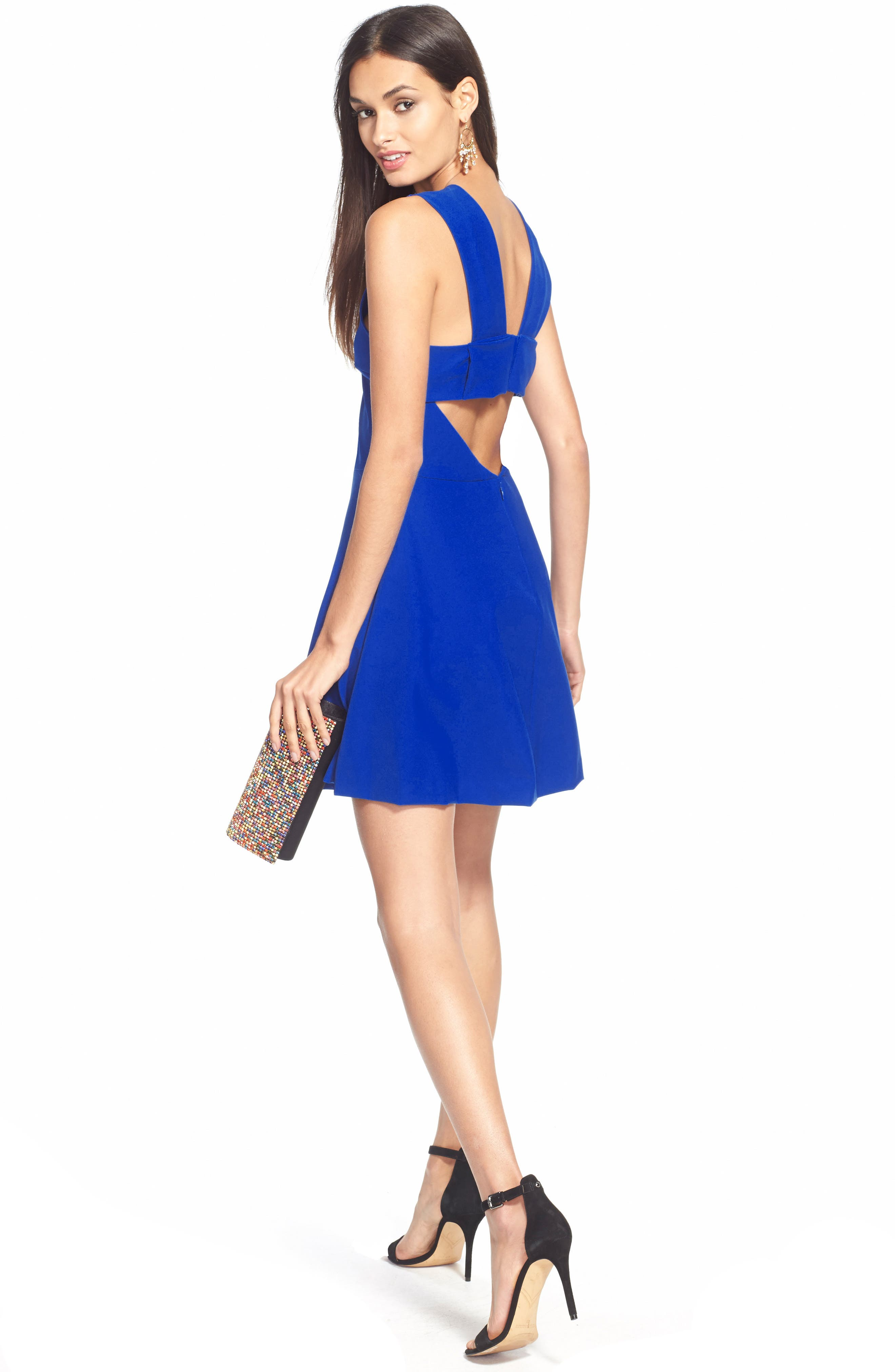 ,                             Bianca Back Cutout Fit & Flare Dress,                             Alternate thumbnail 21, color,                             424
