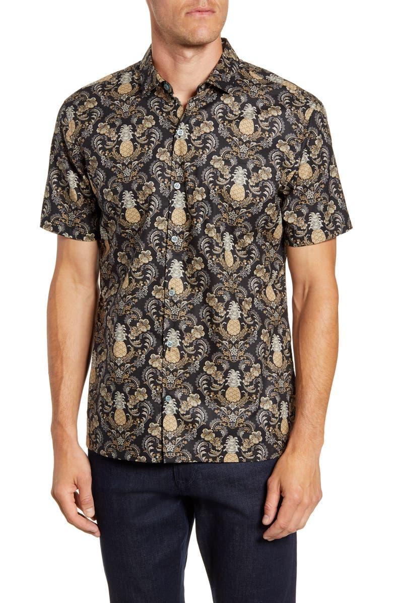 TORI RICHARD The Pineapple Room Regular Fit Short Sleeve Button-Up Shirt, Main, color, BLACK