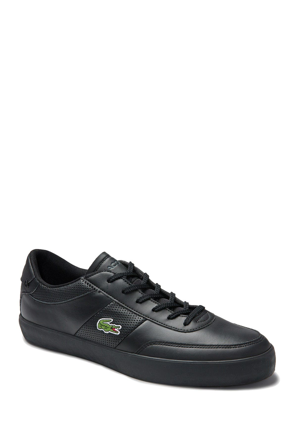 Lacoste Court Master Perf Stripe Sneakers In Black In 02h Blk/blk