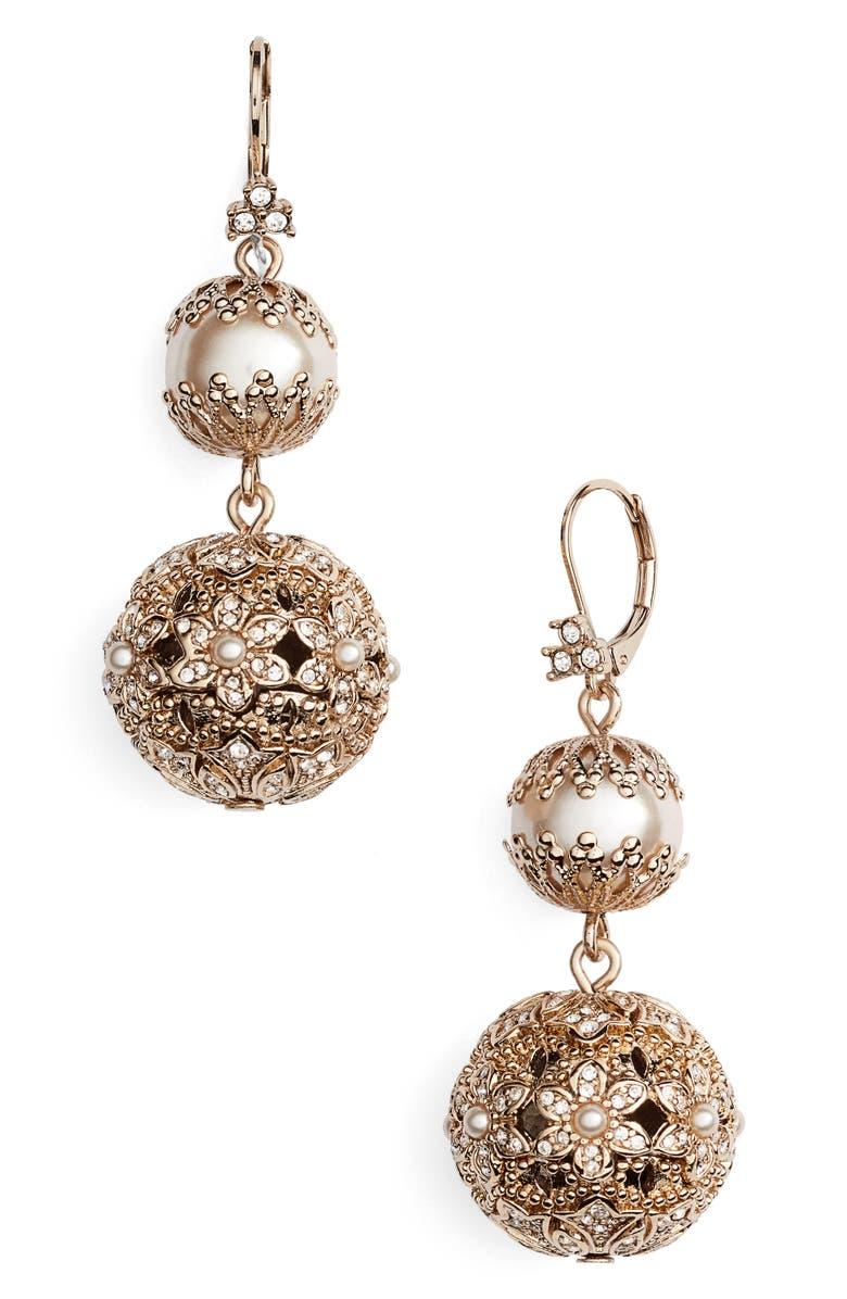 MARCHESA Imitation Pearl Drop Earrings, Main, color, 710