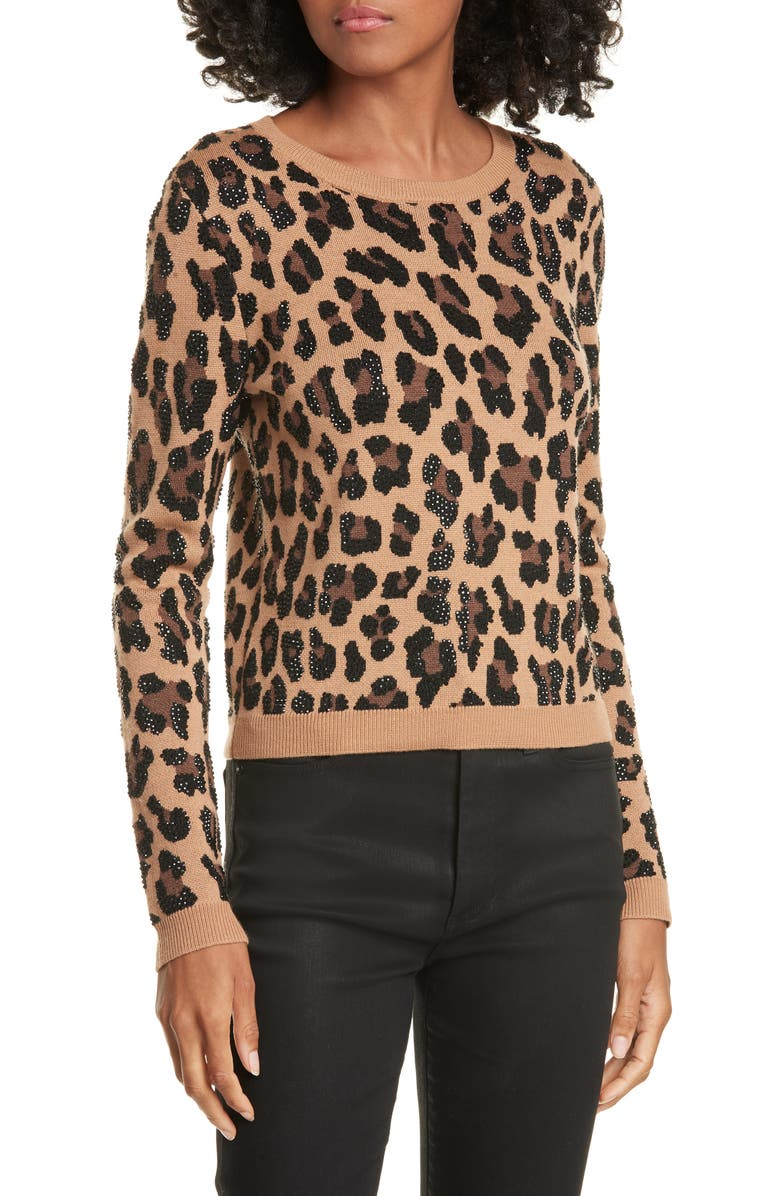 ALICE + OLIVIA Connie Animal Print Stud Detail Stretch Wool Sweater, Main, color, LEOPARD