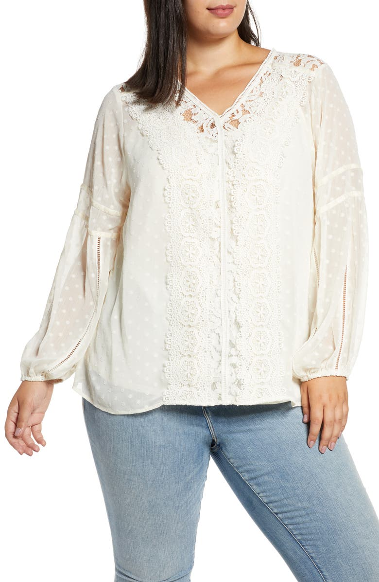 SINGLE THREAD Long Sleeve Lace Swiss Dot Blouse, Main, color, WHISPER WHITE