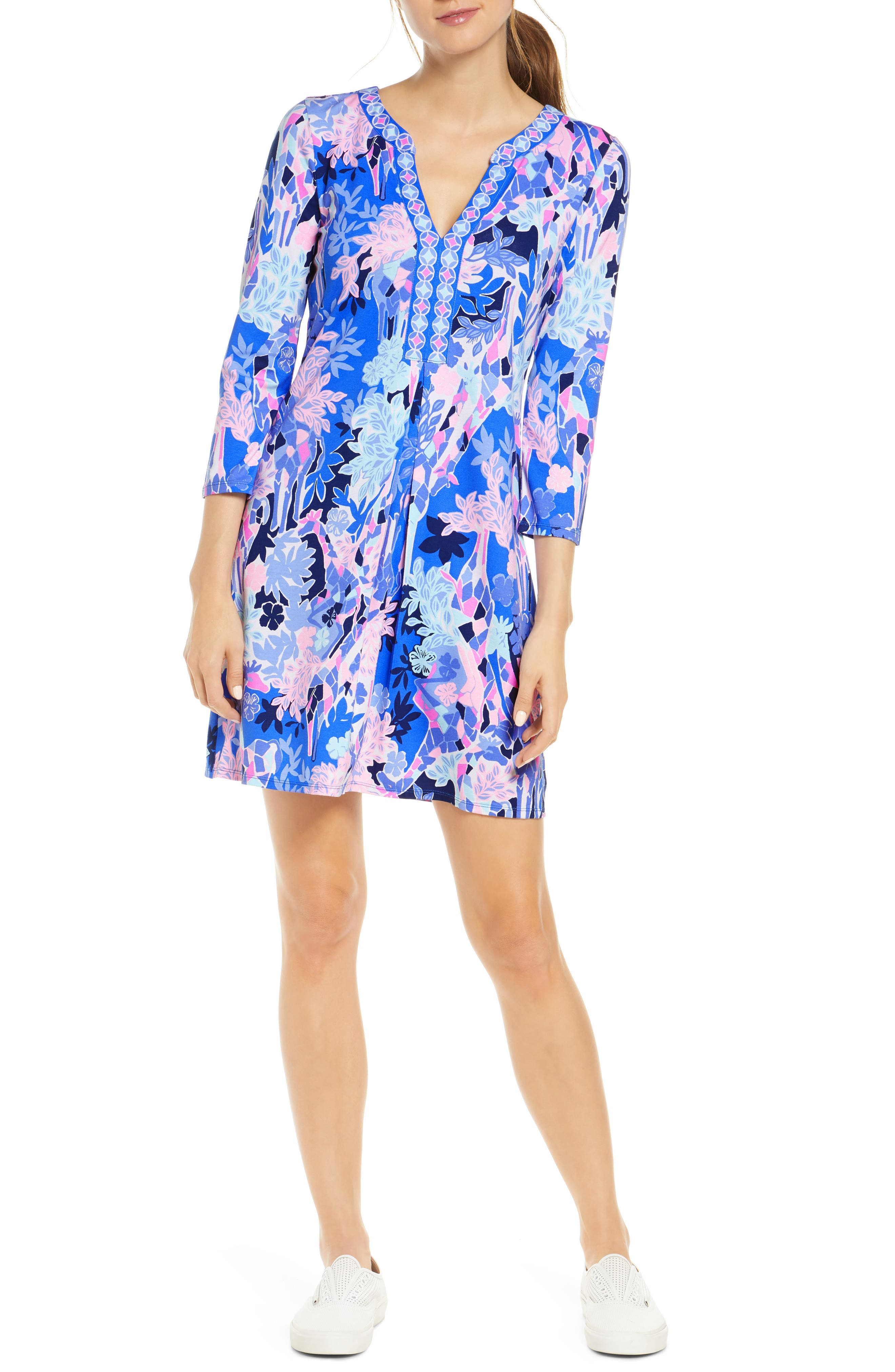 Get in the vacation mindset wearing this easy floral mini designed with a skirt that flows from the inverted pleat at the waist to the hem. Style Name: Lilly Pulitzer Melli Dress. Style Number: 5968493. Available in stores.