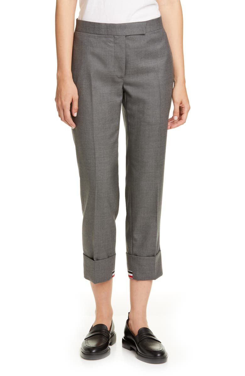 THOM BROWNE Straight Leg RWB Cuff Crop Trousers, Main, color, MED GREY