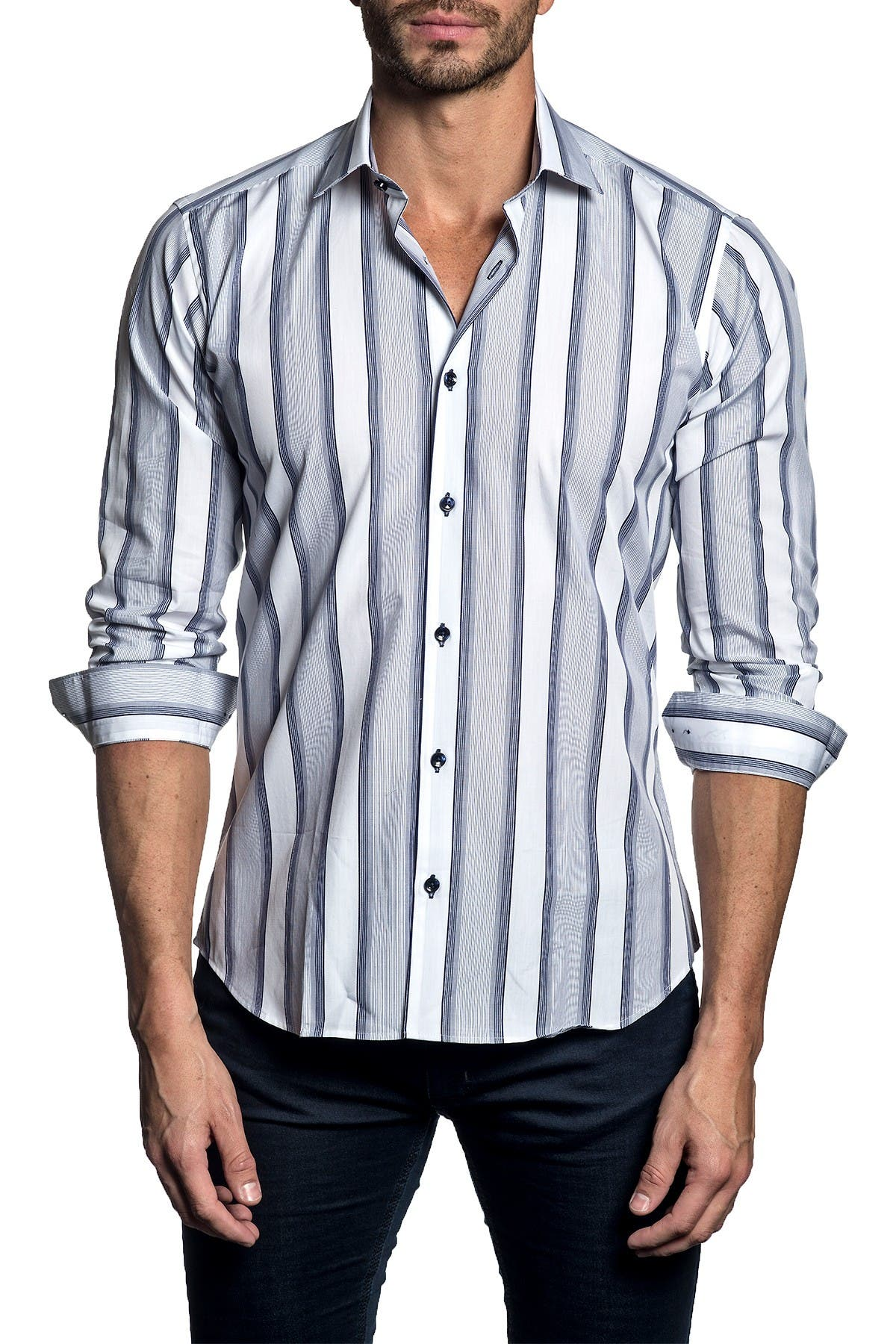 Image of Jared Lang Long Sleeve Stripe Trim Fit Woven Shirt