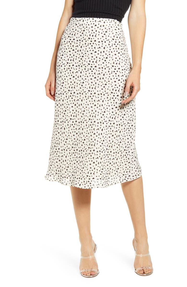 SOCIALITE Print Bias Cut Skirt, Main, color, 001