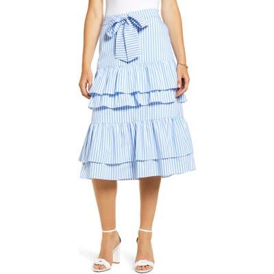 Rachel Parcell Stripe Stretch Cotton Tier Skirt, Blue (Regular & Plus Size) (Nordstrom Exclusive)