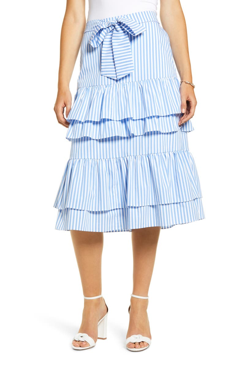 RACHEL PARCELL Stripe Stretch Cotton Tier Skirt, Main, color, 450