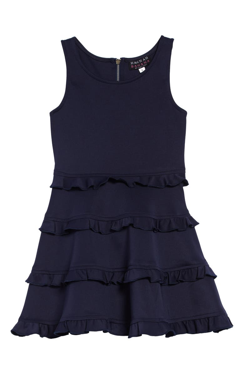 HANNAH BANANA Tiered Fit & Flare Dress, Main, color, NAVY