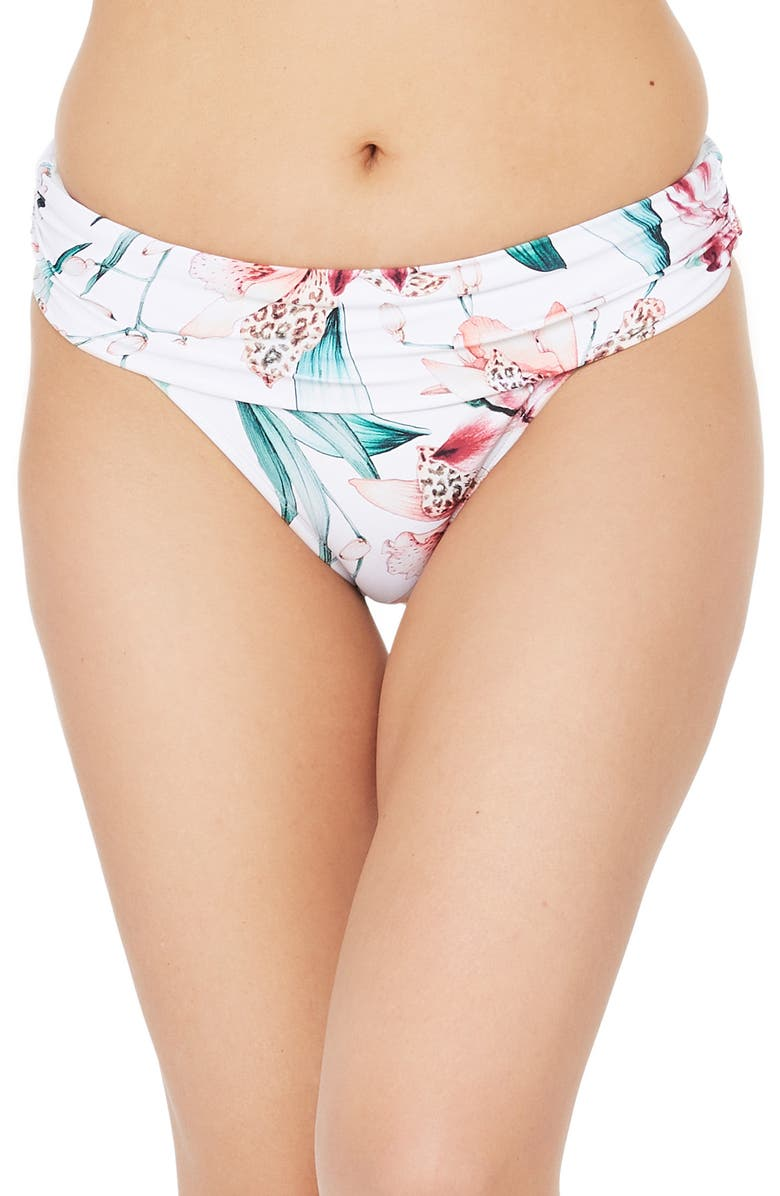 LA BLANCA Flyaway Shirred Band Hipster Bikini Bottoms, Main, color, 100