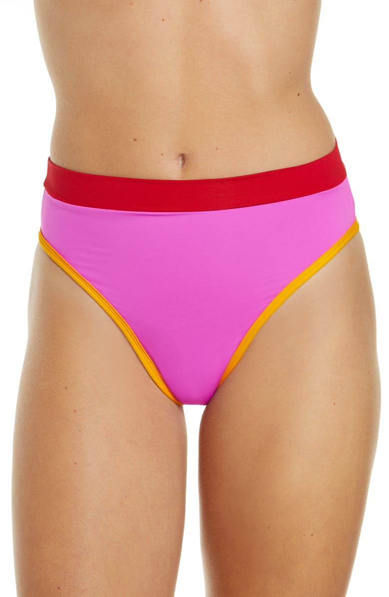L SPACE French Cut High Waist Bikini Bottoms, Main, color, BRIGHT PINK