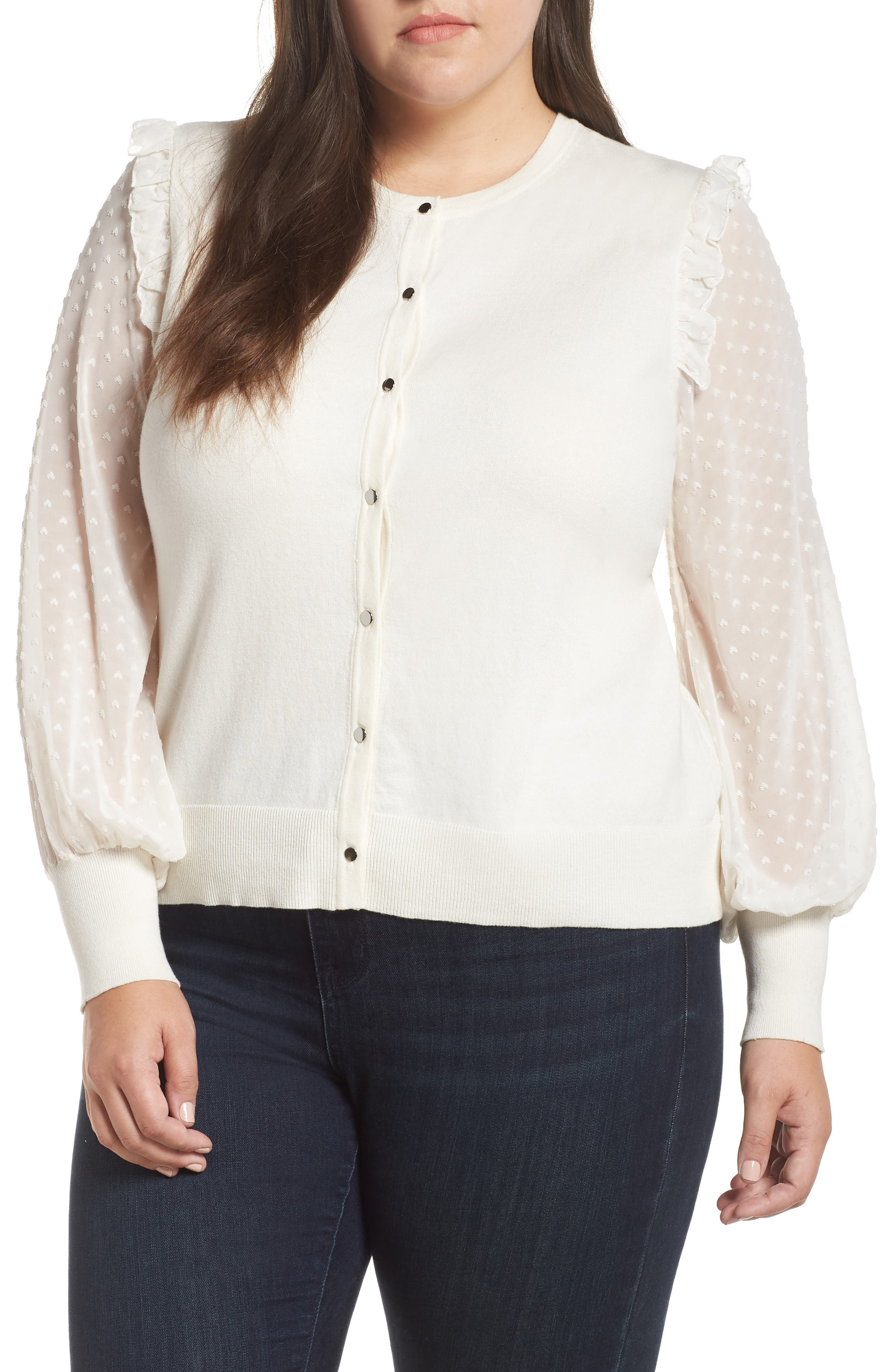 1930s Style Blouses, Shirts, Tops | Vintage Blouses Plus Size Womens Cece Clip Dot Ruffle Cardigan $99.00 AT vintagedancer.com