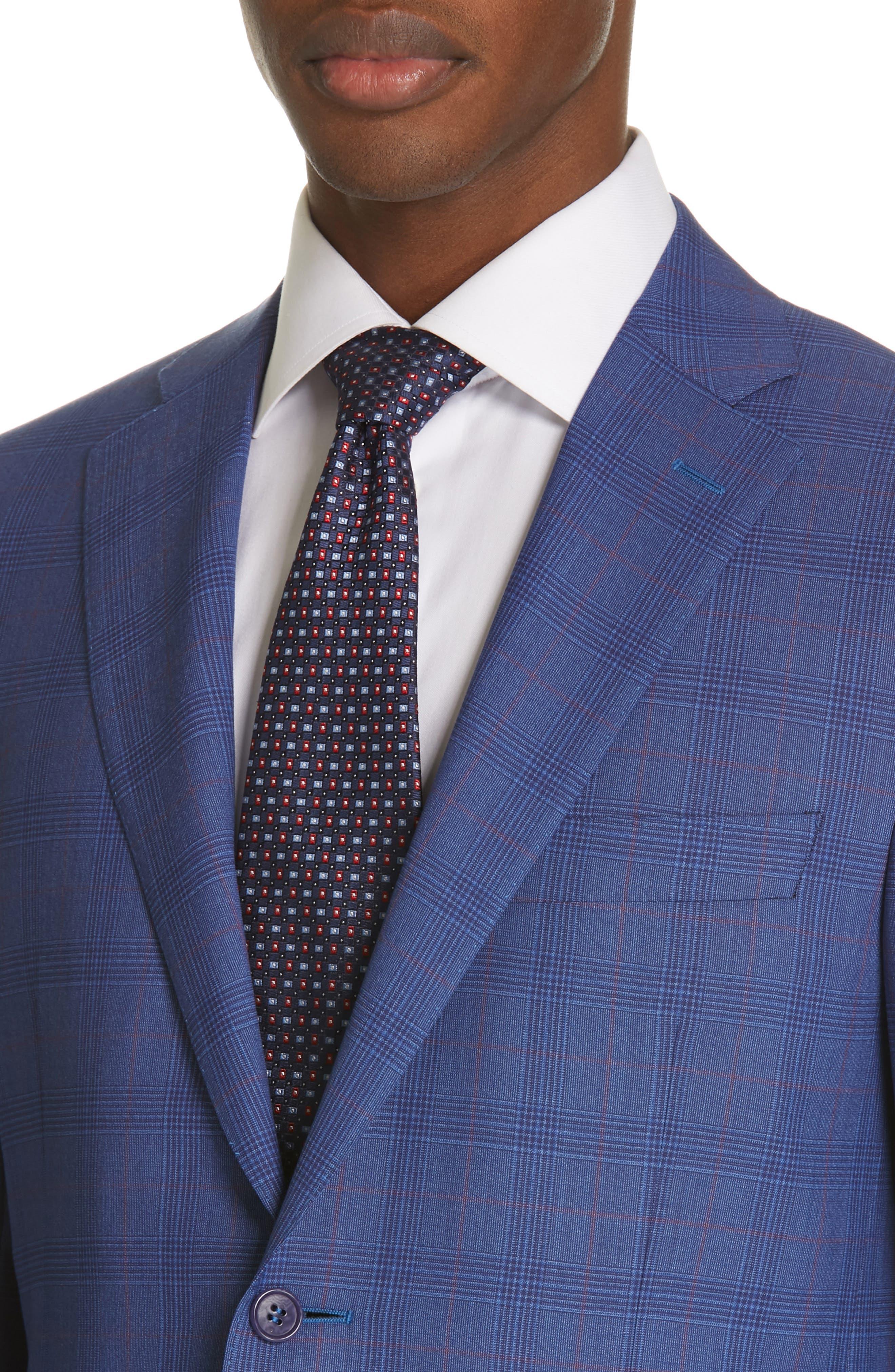 ,                             Siena Classic Fit Deco Plaid Super 130s Wool Suit,                             Alternate thumbnail 4, color,                             BLUE