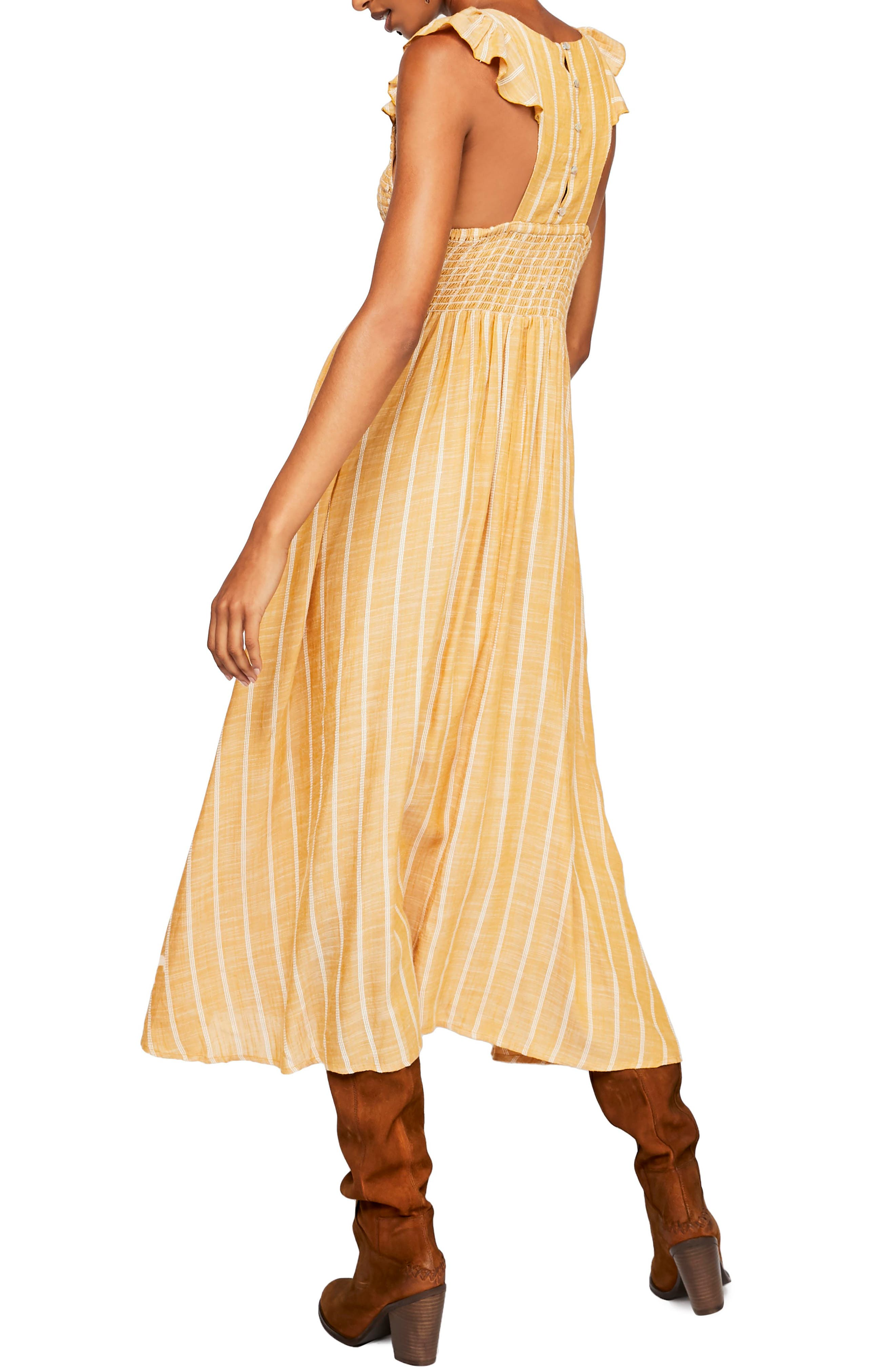 ,                             Butterflies Chambray Midi Dress,                             Alternate thumbnail 2, color,                             GOLD