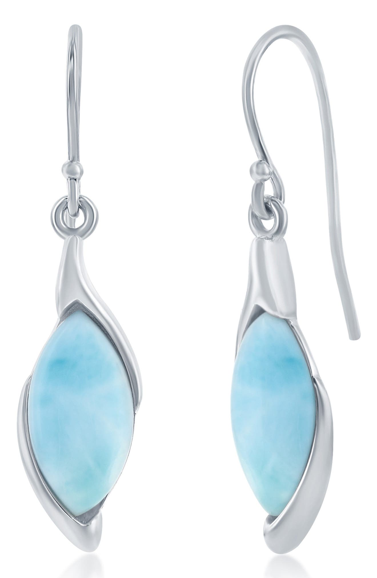 Image of Simona Jewelry Sterling Silver Marquise Larimar Earrings