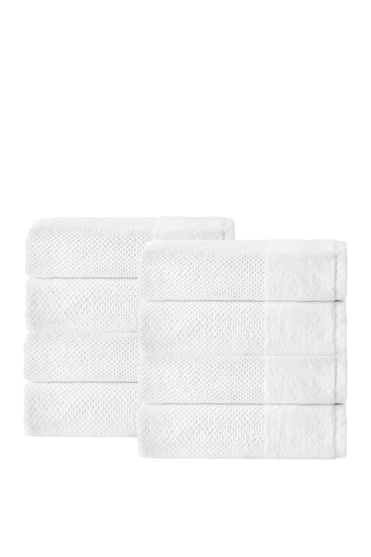 Image of ENCHANTE HOME Incanto Turkish Cotton Hand Towel - White - Set of 8