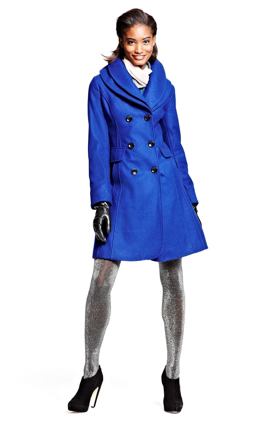 ,                             Double Collar Coat,                             Alternate thumbnail 3, color,                             001