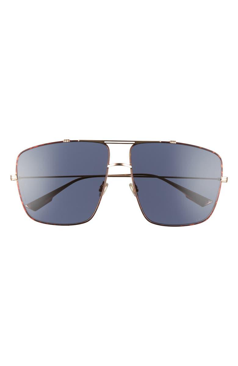 DIOR Monsieur2 64mm Oversize Aviator Sunglasses, Main, color, GOLD HAVANA/ BLUE