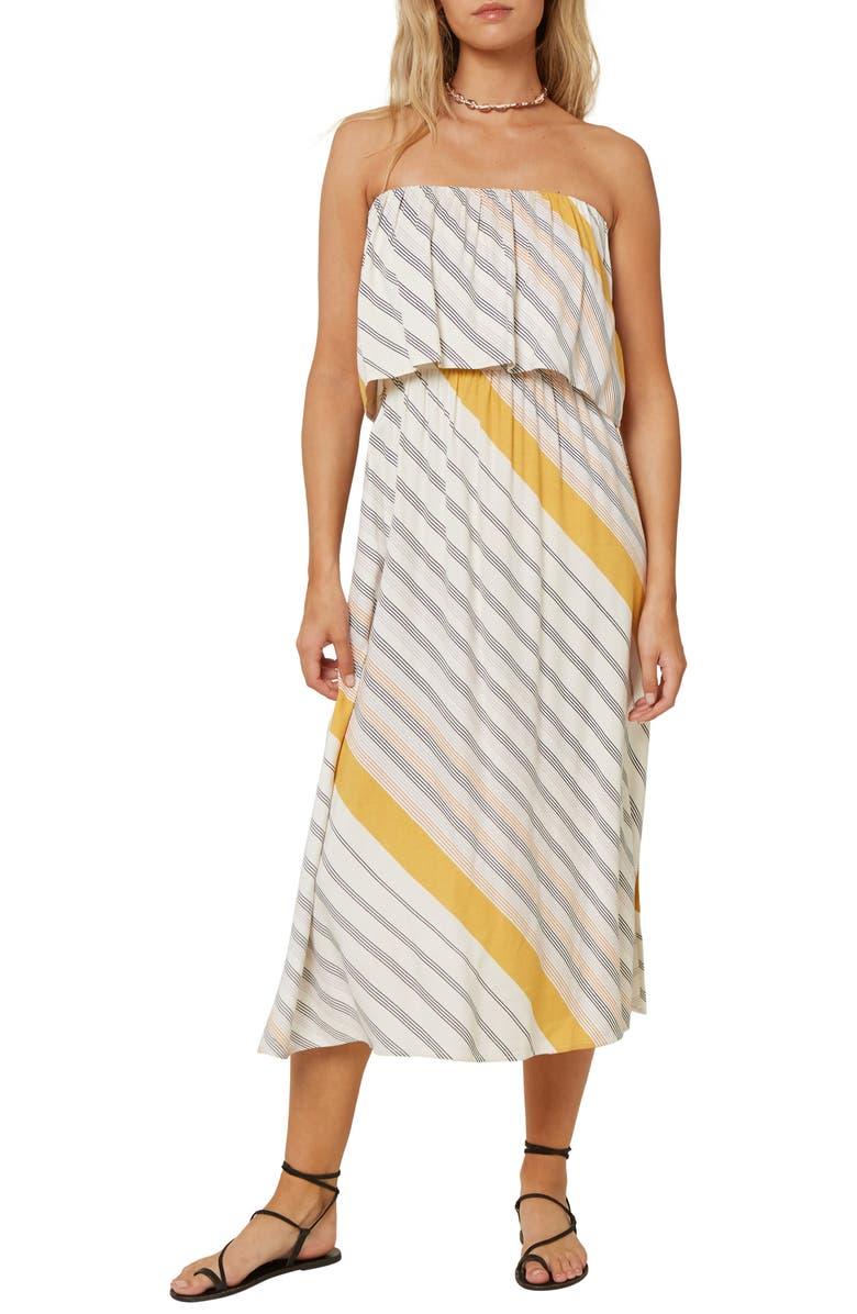 O'NEILL Koia Stripe Strapless Dress, Main, color, BRIGHT WHITE