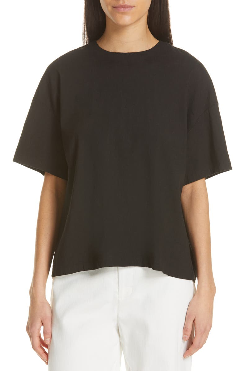 VINCE Boxy Linen Blend Top, Main, color, BLACK